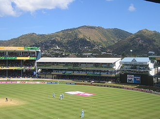 Northern Range - The hills of the Northern Range rising behind the Queen's Park Oval in Trinidad.