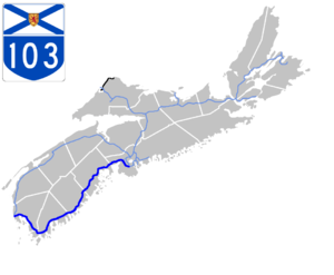 Nova Scotia Highway 103 - Image: Nova Scotia 103 Map
