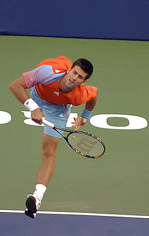 Novak Djokovic playing at the 2008 Rogers Cup