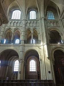 Elevation Of The Early Noyon Cathedral 1150 Ground Floor Arcade Massive Pillars Supporting Roof A Second Smaller Or Tribune