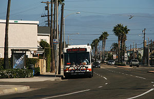 OCTA bus on Newport Boulevard in Newport Beach...