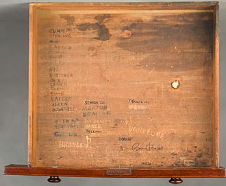 United States Senate career of Barack Obama - Drawer of chamber desk XXIV that was once occupied in the U.S. Senate by Barack Obama. Note signature inside lower right half of the drawer. This chamber desk was also formerly occupied in the U.S. Senate by Howard Baker, Paul Simon, Robert F. Kennedy, and Henry Cabot Lodge.