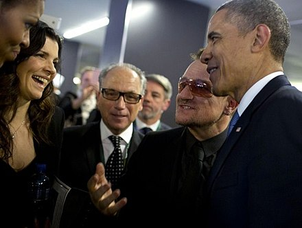 Bono and his wife, Ali Hewson, with President Obama at Nelson Mandela's funeral in South Africa, December 2013 Obama and Bono.jpg