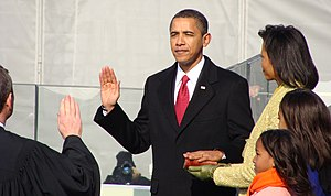 Barack Obama religion conspiracy theories - Barack Obama swearing the oath of office of the President of the United States using the Bible of Abraham Lincoln