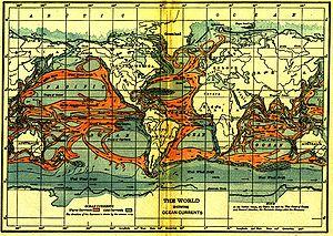 Um mapa escolar de 1911 mostra as correntes oceânicas ao redor do mundo.