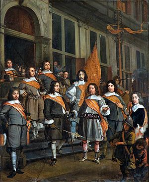 Martinus Lengele - The Officers of the Orange Banner in The Hague, 1660, Haags Historisch Museum