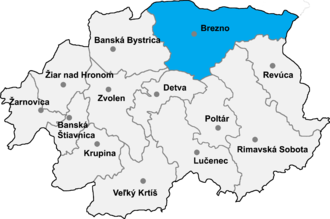 Bacúch - Location of the Brezno District in the Banská Bystrica Region
