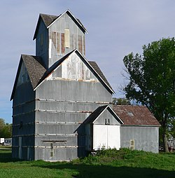 Historic grain elevator in Ithaca.  Built ca. 1890, it is listed in the National Register of Historic Places.