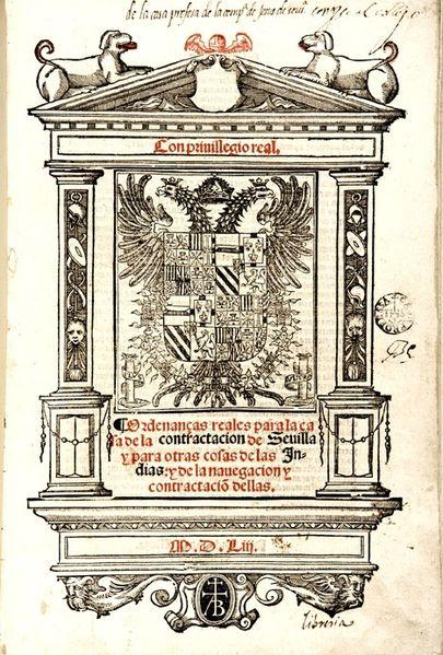 8 reales de FELIPE II, Sevilla. 405px-Ordenanzas_de_la_Casa_de_la_Contrataci%C3%B3n