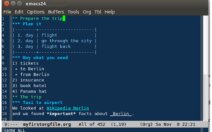 Outliner - An outline in Emacs Org-mode.