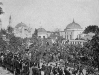 Public demonstration in the Sultanahmet district of Istanbul, 1908
