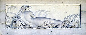 Pierre-Philippe Mignot - bas-relief of a naiad by Pierre-Philippe Mignot, Fontaine des Haudriettes (Paris), 1764