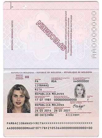 Moldovan passport - Data page of the 2014 version biometric passport