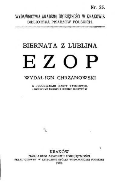 File:PL Chrzanowski Ignacy - Biernata z Lublina Ezop.djvu