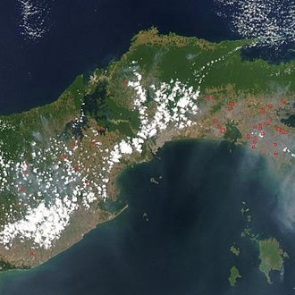Panama Canal - Satellite image showing location of Panama Canal. Dense jungles are visible in green.