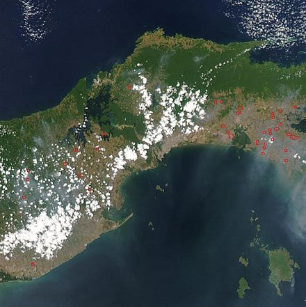 Satellite image showing location of Panama Canal: Dense jungles are visible in green. Panama.A2003087.1850.250m.jpg