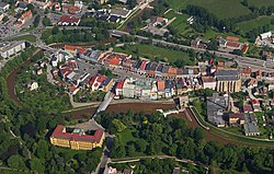 Aerial view of the center of Jaroměř
