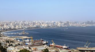 Bay of Baku -  A view to the bay from Bayil hill