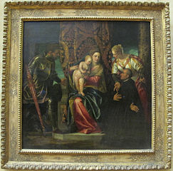 La Vierge à l'Enfant entre sainte Justine et saint Georges, avec un bénédictin agenouillé