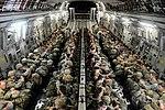 Paratroopers sit inside a C17 Globemaster III aircraft.JPG