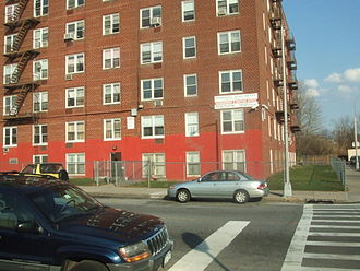 Clifton, Staten Island - Park Hill apartment complex, southeast corner.