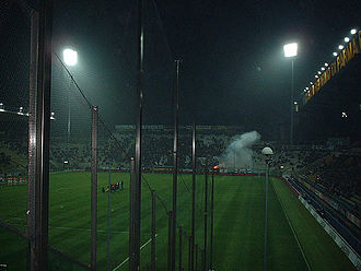 Stadio Ennio Tardini - Parma fans let off a flare before their 2001–02 UEFA Cup domestic encounter with Utrecht
