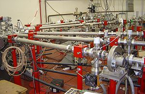 Particle accelerator - Beamlines leading from the Van de Graaff accelerator to various experiments, in the basement of the Jussieu Campus in Paris.
