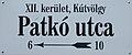 Patkó street sign, 2018 Kútvölgy.jpg