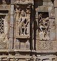 Pattadakal Virupaksa. Sanctuary-antechamber south wall. Shiva-Shiva spearing Andhaka.JPG