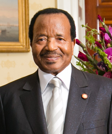 Paul Biya has ruled the country since 1982 Paul Biya 2014.png