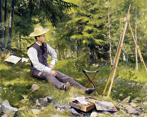 Paul Gustave Fischer - The Artist Painting En Plein Air