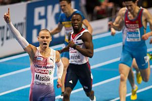 2015 European Athletics Indoor Championships - The leading Czech athlete, Pavel Maslák, winning his European indoor title in 2013