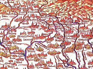 Duchy of Legnica - First geographical map of Lower Silesia (to south) by Martin Helwig, 1561