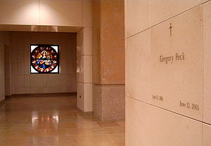 Cathedral of Our Lady of the Angels (Los Angeles) - The final resting place of actor Gregory Peck in the Cathedral's Crypt Mausoleum