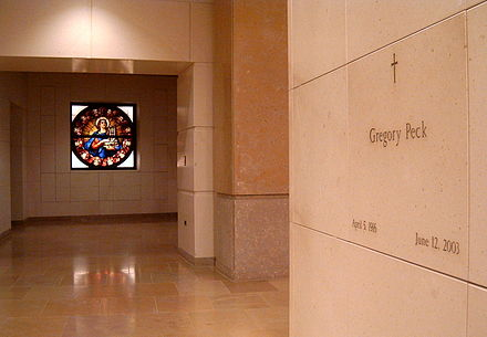 Gregory Peck's tomb at Los Angeles Cathedral PeckTomb.jpg