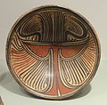 Pedestalled Plate with zoomorphic figure, 700-900 AD, Azuero Peninsula, Panama, earthenware with red and black on cream slip - Gardiner Museum, Toronto - DSC01189.JPG