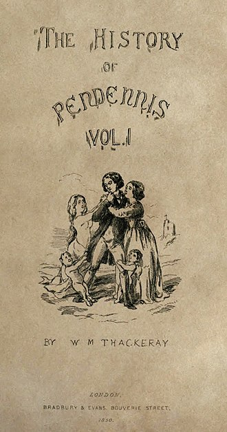 Pendennis - First edition title-page with an illustration drawn by Thackeray himself