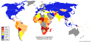 Poverty threshold - CIA World Factbook-based map showing the percentage of population by country living below that country's official poverty line