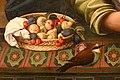 Perin del vaga (attr.), madonna col bambino, 03 vassoio di frutta e uccello.jpg