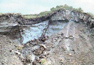 Permafrost - Slope failure of permafrost soil, revealing ice lenses.