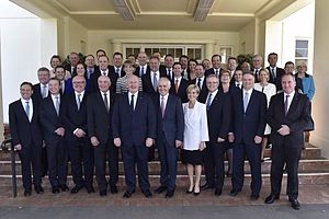 Turnbull Government - Governor-General Peter Cosgrove and Prime Minister Malcolm Turnbull pose with newly sworn-in ministers on 21 September 2015.