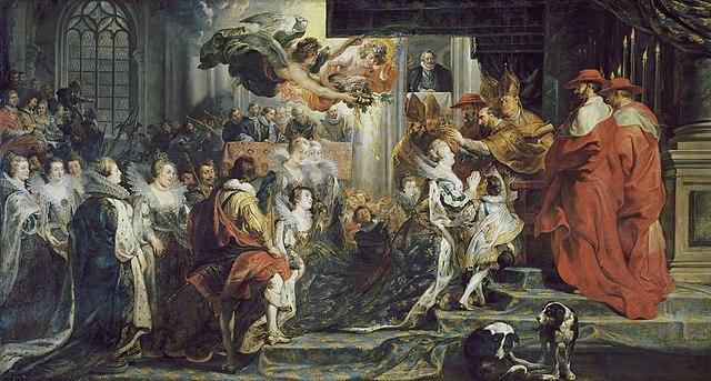 Коронация Марии Медичи 13 мая 1610 года. Холст, масло. 394 × 727 см. Лувр