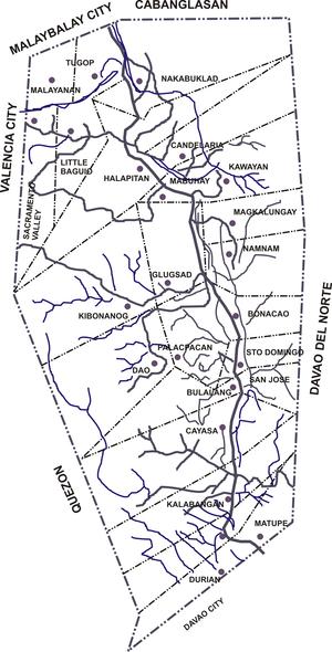 San Fernando, Bukidnon - Political map of San Fernando showing its 25 barangays