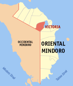 Map of Oriental Mindoro showing Victoria