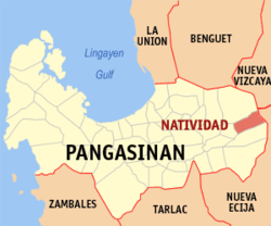 Map of Pangasinan showing the location of Natividad