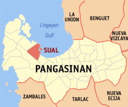 Map of Pangasinan with Sual highlighted