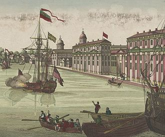 Gottlieb Mittelberger - Print by Balthasar Leizelt (1770s) depicting Philadelphia, as a European port city, a generation after Mittelberger came to America.