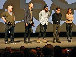 Grigoriy Dobrygin - Philip Seymour Hoffman, director Anton Corbijn, Dobrygin, Willem Dafoe and Rachel McAdams at the 2014 Sundance Film Festival