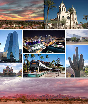 Images, from top, left to right: Papago Park at sunset, Saint Mary's Basilica, Chase Tower, Phoenix skyline at night, Arizona Science Center, Rosson House, the light rail, a saguaro cactus, and the McDowell Mountains