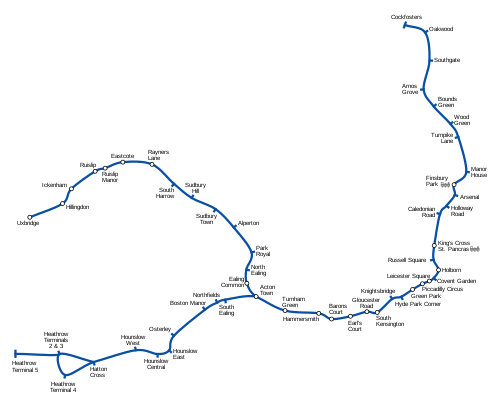 Geographically accurate map of the Piccadilly Line